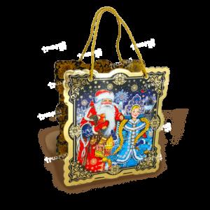 Коробка фигурная «Дед Мороз и Снегурка» - Золото