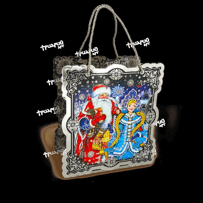 Коробка фигурная «Дед Мороз и Снегурка» - Серебро