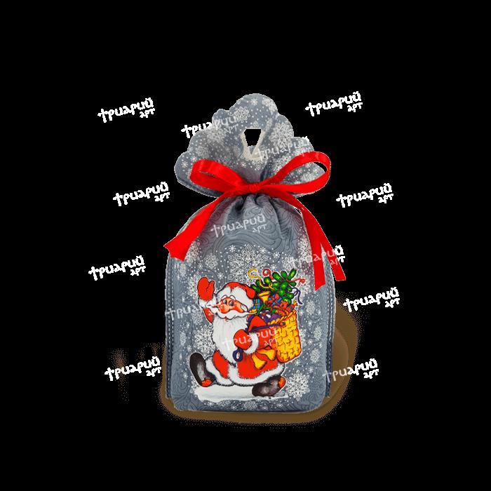Новогодняя упаковка мешочек «Морозушко» - серый