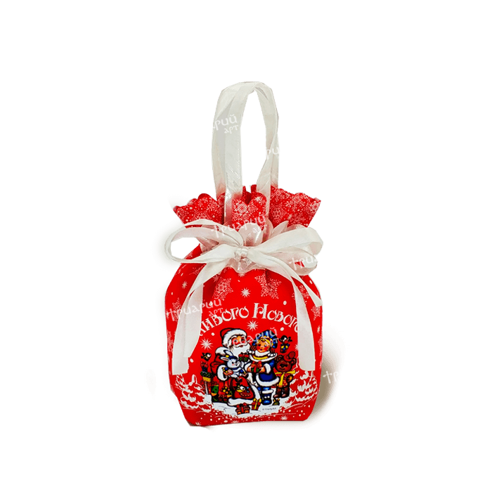 Новогодняя упаковка мешочек «С Праздником!» - красный