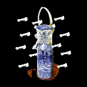 Мешочек под бутылку «От Деда Мороза» - синий