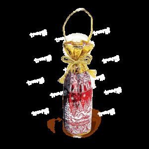 Мешочек под бутылку «От Деда Мороза» - красный