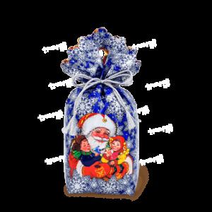 Новогодняя упаковка мешочек «В Гостях у Деда» - синий