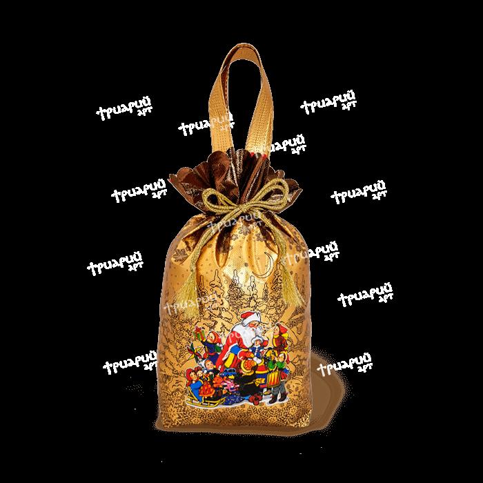 Новогодняя упаковка мешочек «Мороз и Дети» - матовый