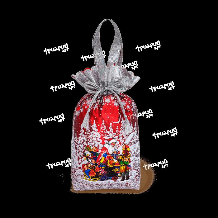 Новогодняя упаковка мешочек «Мороз и Дети» - красный