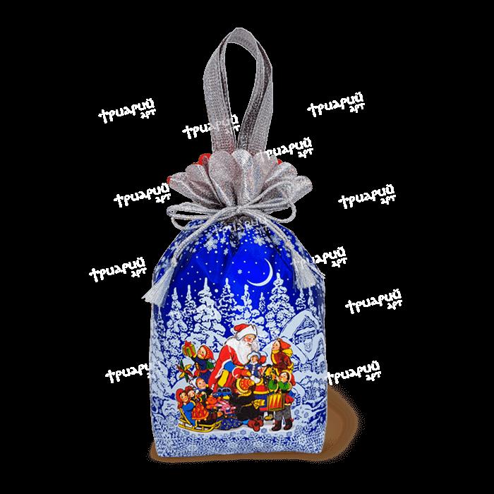 Новогодняя упаковка мешочек «Мороз и Дети» - синий