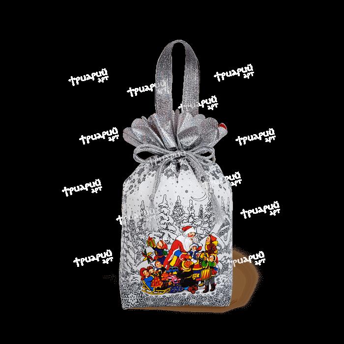 Новогодняя упаковка мешочек «Мороз и Дети» - глянцевый