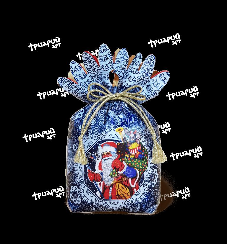 Новогодняя упаковка мешочек «Дед Мороз» - синий