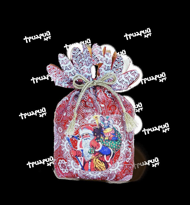 Новогодняя упаковка мешочек «Дед Мороз» - красный