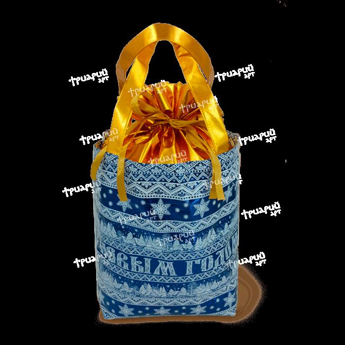 Сумка-мешочек «С Новым Годом!» - Синяя