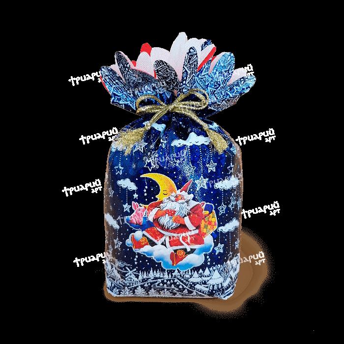 Новогодняя упаковка мешочек «На Облачке» - синий