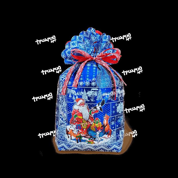 Новогодняя упаковка мешочек «Время Чудес» - cиний