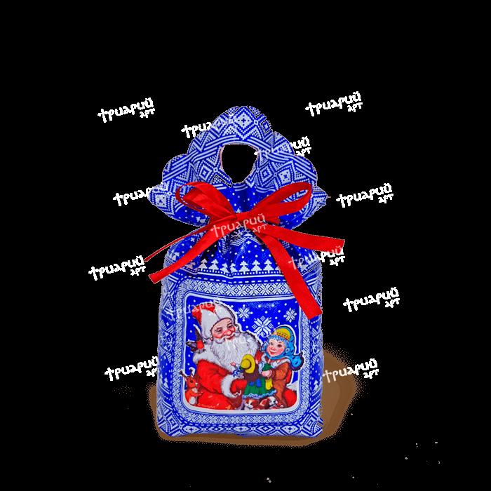 Новогодняя упаковка мешочек «Три Снежинки» - синий