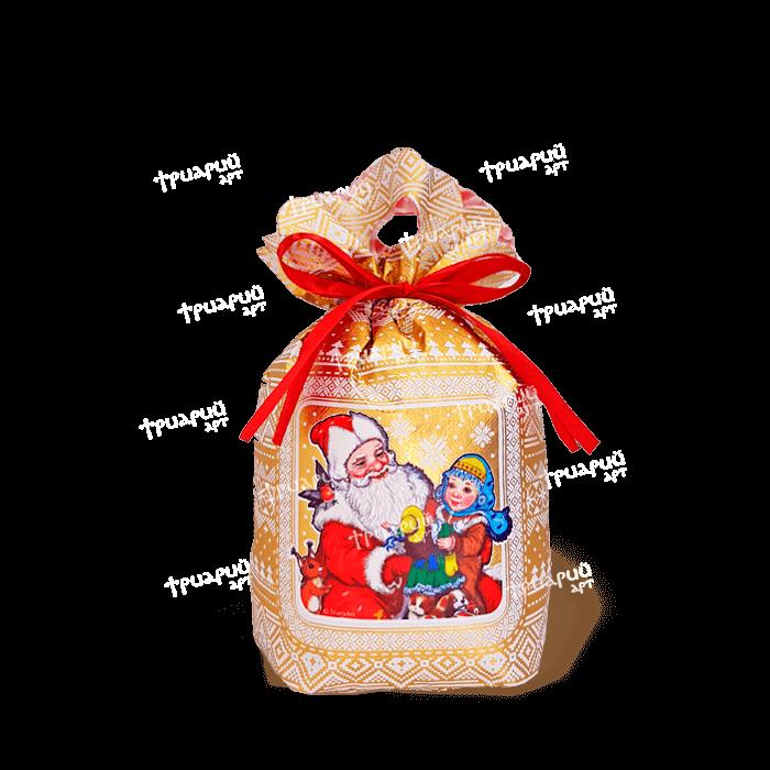Новогодняя упаковка мешочек «Три Снежинки» - золотой