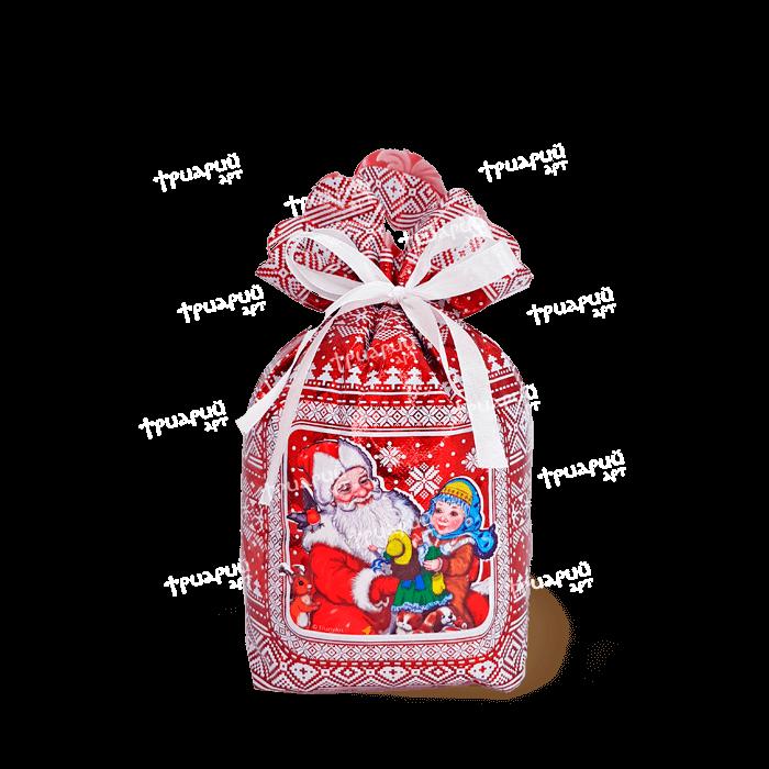 Новогодняя упаковка мешочек «Три Снежинки» - красный