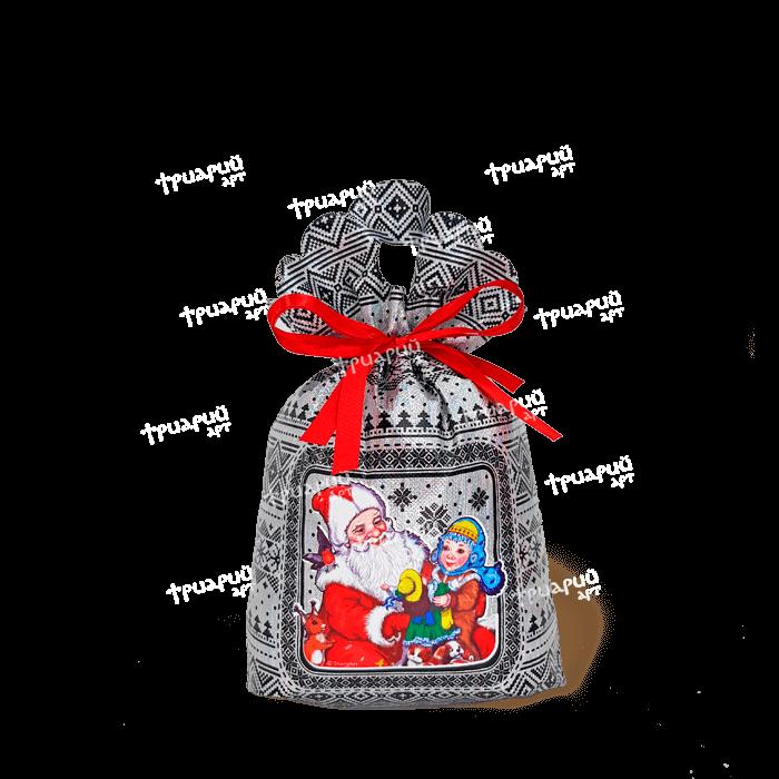 Новогодняя упаковка мешочек «Три Снежинки» - серебряный