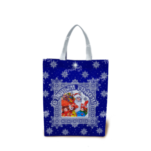 Сумочка на кнопке «Добрый Дедушка Мороз» - Синяя