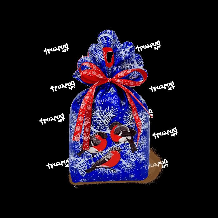 Новогодняя упаковка мешочек «За Окошком Снегири» - синий