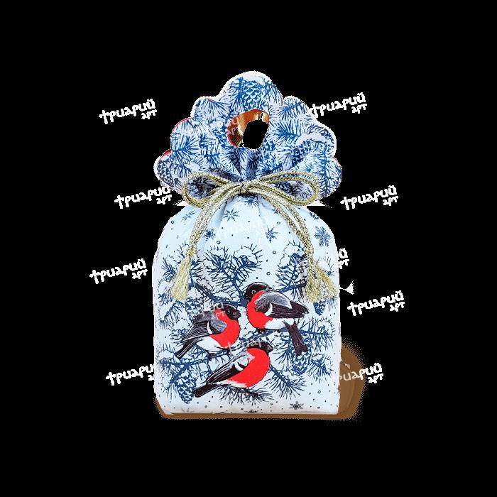 Новогодняя упаковка мешочек «За Окошком Снегири» - Белый