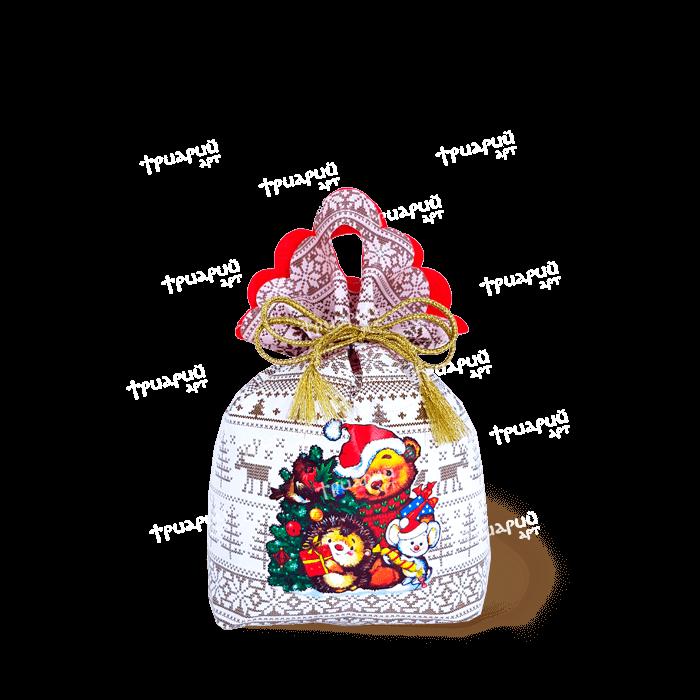 Новогодняя упаковка мешочек «Вместе веселей!» - Белый