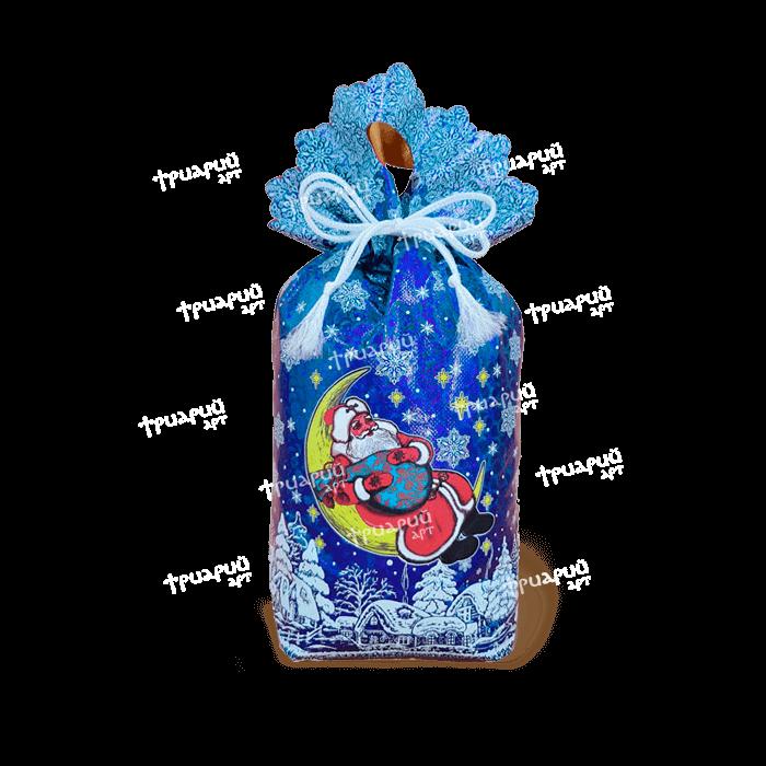Новогодняя упаковка мешочек «Высоко сижу! Далеко гляжу!» - синий