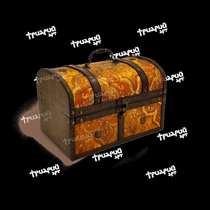 Новогодняя упаковка сундучок «Янтарный» - Средний