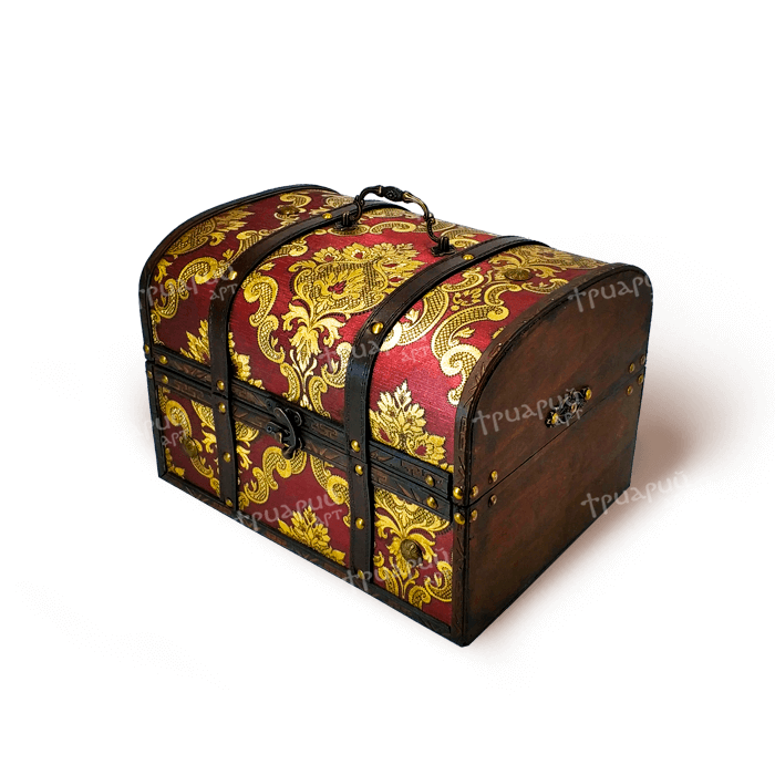 Новогодняя упаковка сундучок «Антик Дворцовый» - Бордовый - Большой