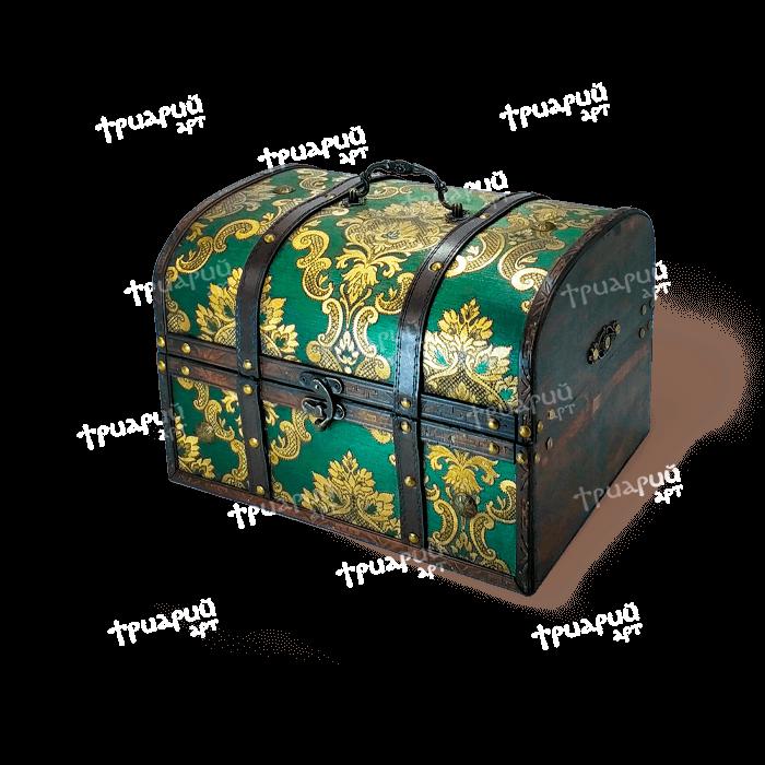 Новогодняя упаковка сундучок «Антик Дворцовый» - Зелёный - Большой
