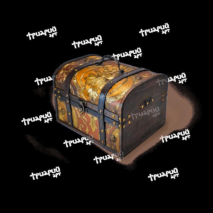 Новогодняя упаковка сундучок «Антик Дворцовый» - золотой - Средний