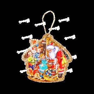 Картонная ёлочная игрушка «Домик»