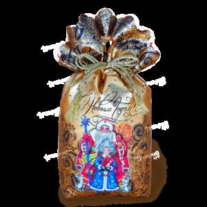 Новогодняя упаковка мешочек «Праздник пришел» - золотой