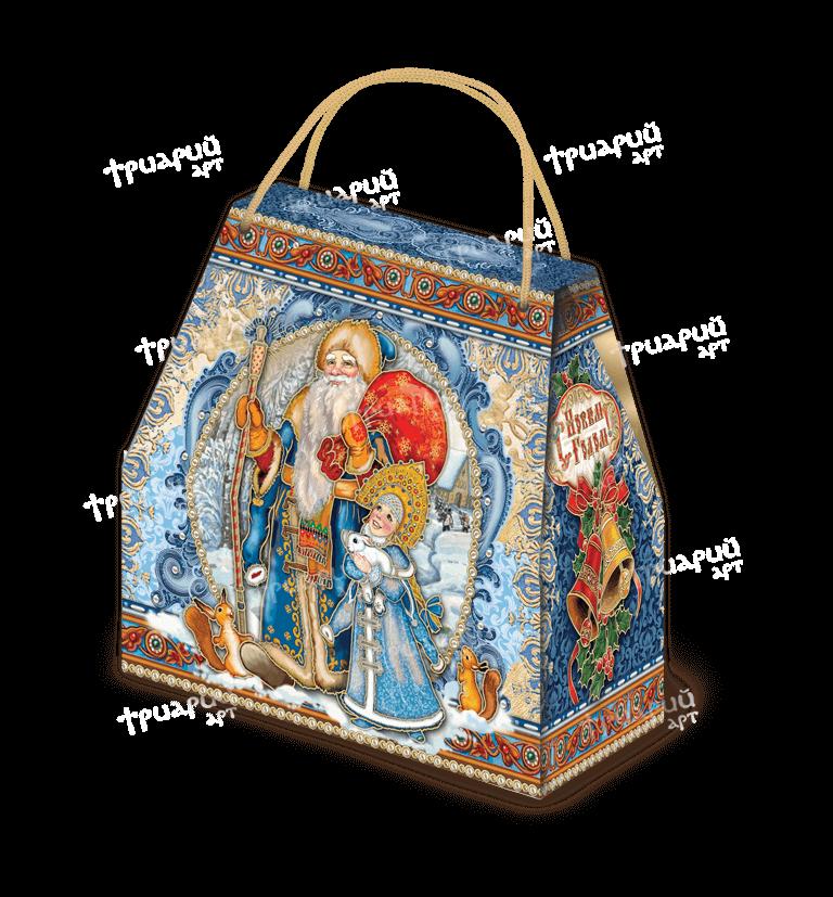 Новогодняя упаковка сумочка «Поздравляем!» - синяя