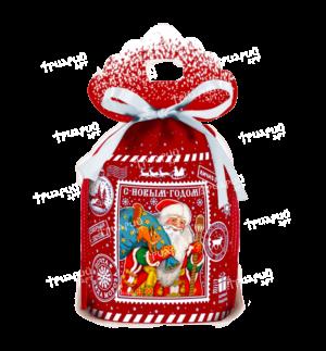 Новогодняя упаковка мешочек «Северная почта» - красный
