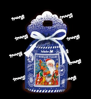 Новогодняя упаковка мешочек «Северная почта» - синий