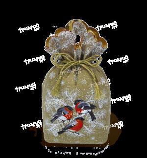 Новогодняя упаковка мешочек «За Окошком Снегири»