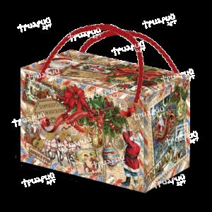 Новогодняя упаковка посылка с золотыми ручками «Ретро Коллаж»