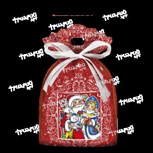 """Новогодний мешочек «С Праздником!» с голограммой """"Блики"""" - красный"""